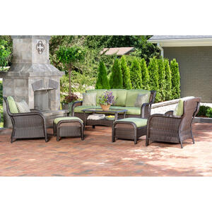 Hanover  Strathmere  6 pc. Aged Barrel Steel  Steel  Lounge  Cilantro Green