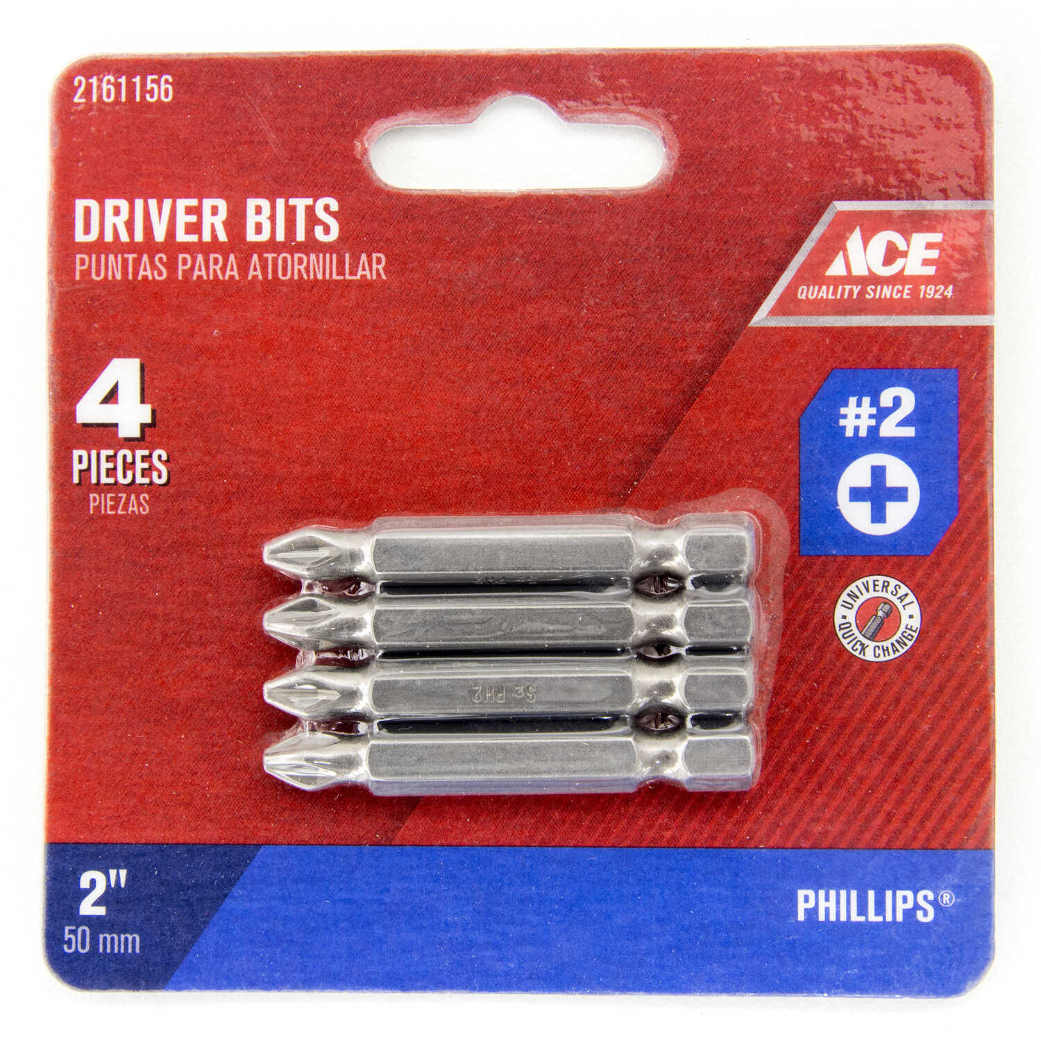 Ace  Phillips  2   x 2 in. L 1/4 in. Quick-Change Hex Shank  4 pc. S2 Tool Steel  Power Screwdriver