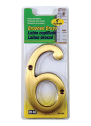 Hy-Ko 4 in. Gold Brass Nail-On Number 6 1 pc.