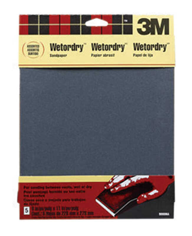 3M  11 in. L x 9 in. W Assorted Grit Assorted  Silicon Carbide  Sandpaper  5 pk