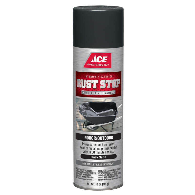 Ace Rust Stop Satin Black Spray Paint 15 Oz Ace Hardware