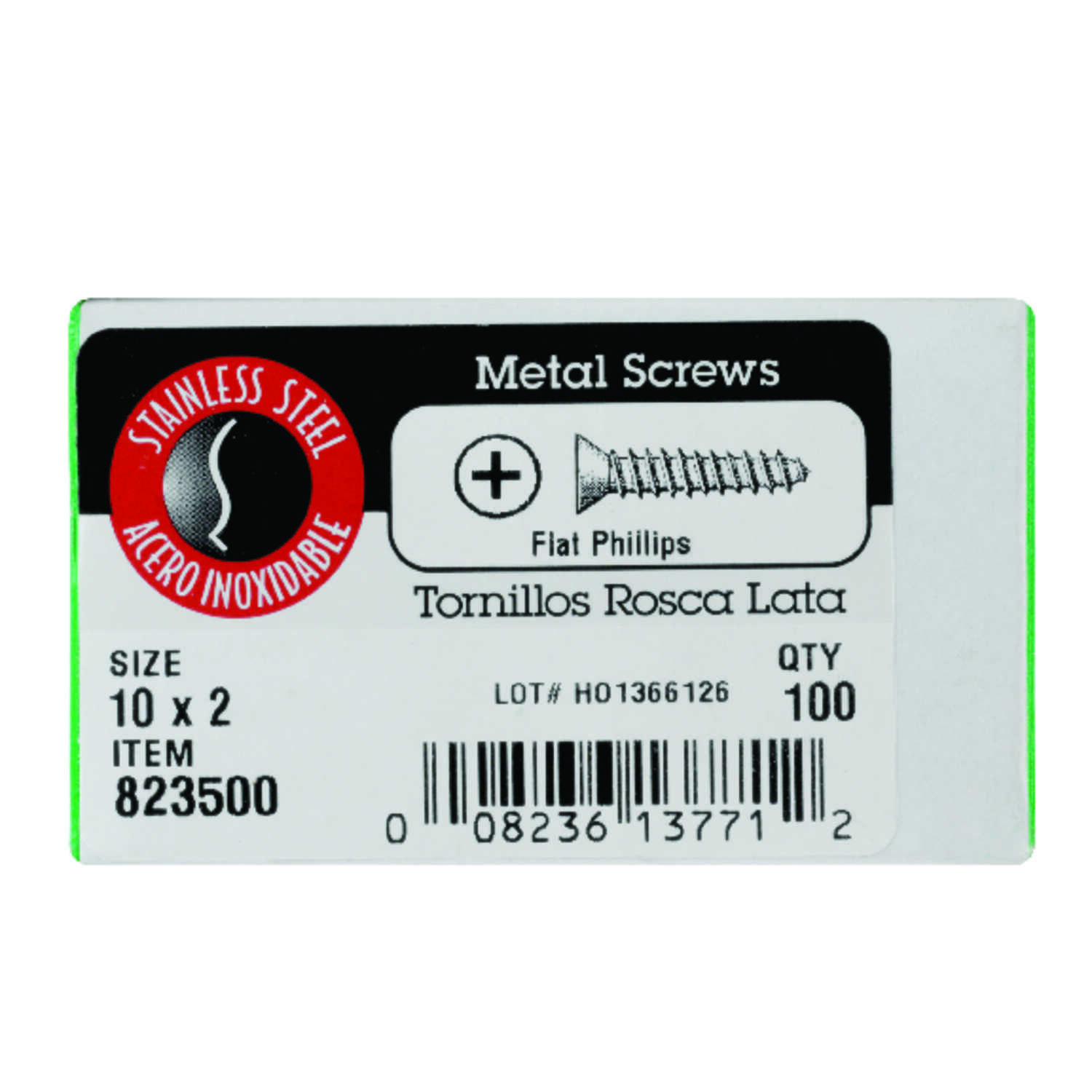 Hillman  10 in.  x 2 in. L Phillips  Flat Head Stainless Steel  Sheet Metal Screws  100  1 pk