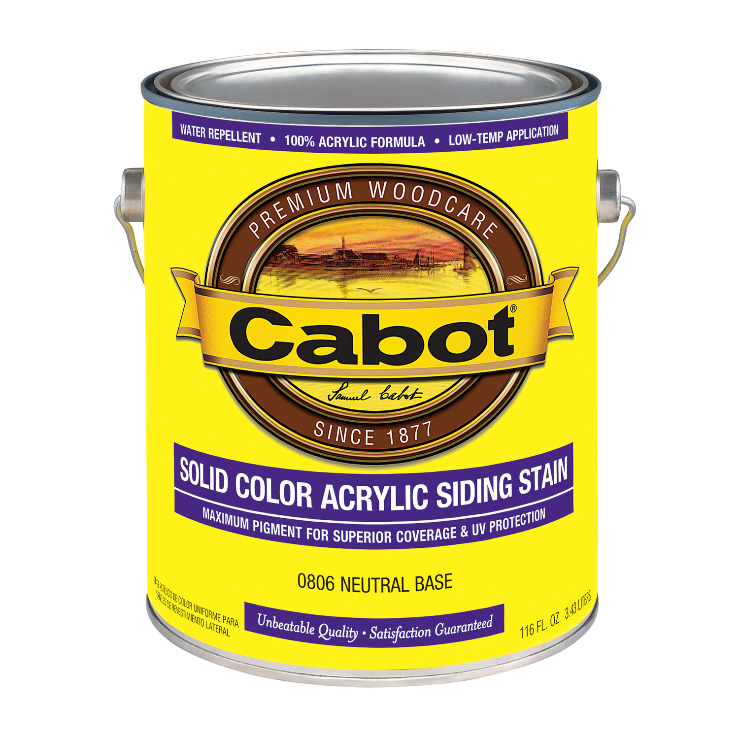 Cabot  Solid  Tintable Neutral Base  Water-Based  Acrylic  Solid Color Acrylic Deck Stain  1 gal.