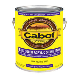 Cabot  Solid  Tintable Neutral Base  Water-Based  Acrylic  Siding Stain  1 gal.