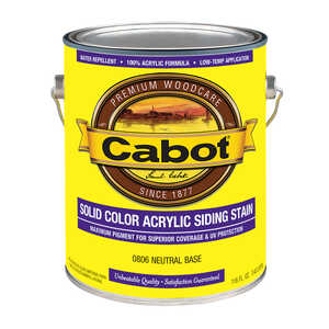 Cabot  Solid  Tintable Neutral  Water-Based  Acrylic  Solid Color Acrylic Deck Stain  1 gal.