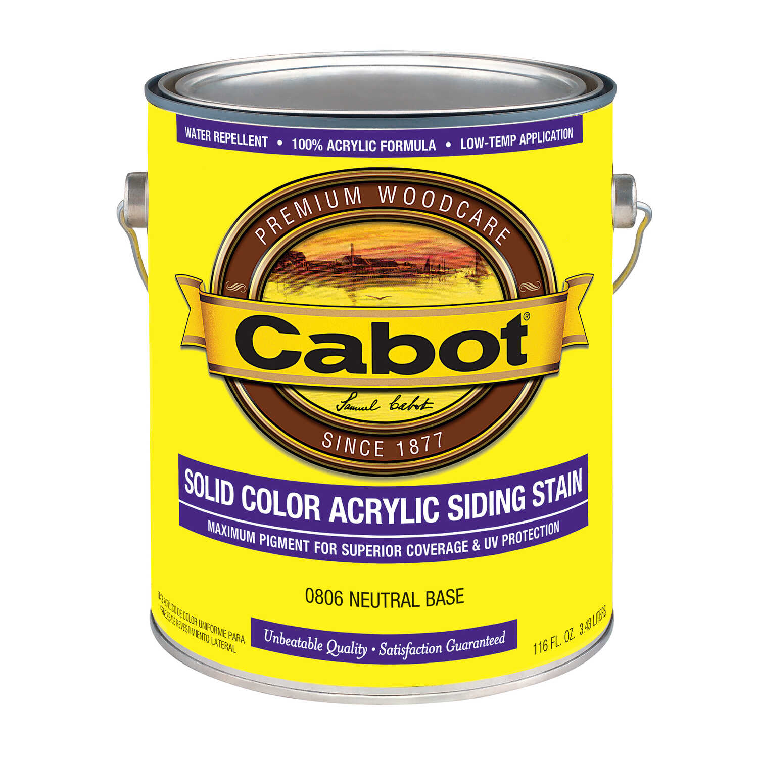 Cabot  Solid  Tintable Neutral  Water-Based  Acrylic  Siding Stain  1 gal.