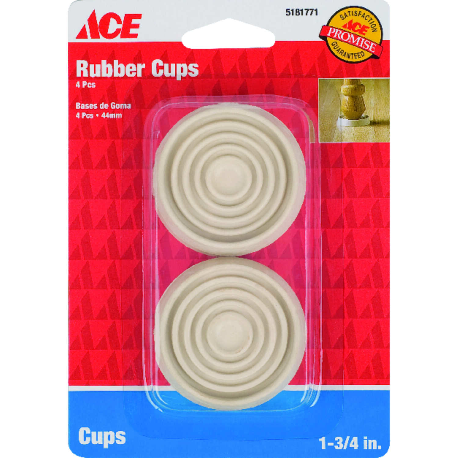 Ace  Rubber  Caster Cup  White  Round  1-3/4 in. W 4 pk