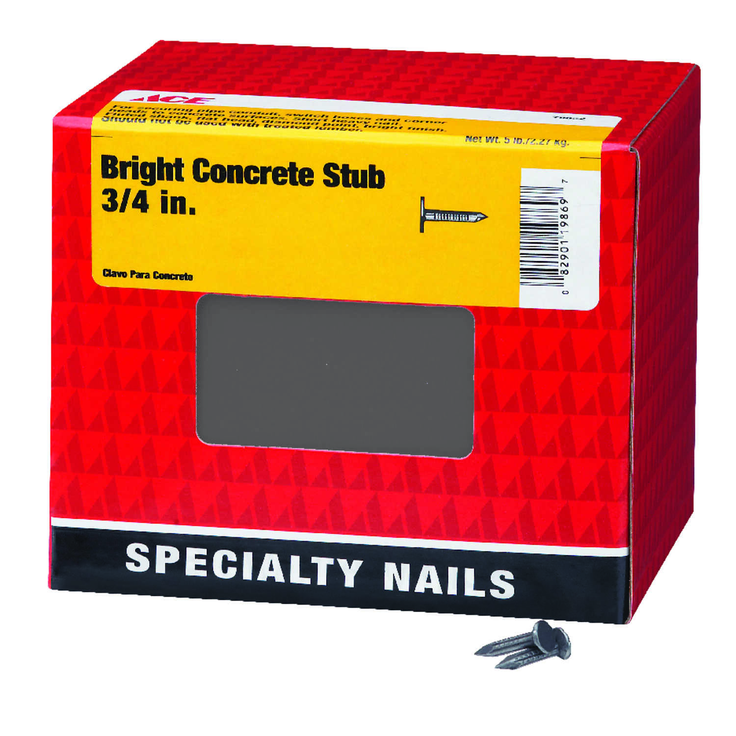 Ace  3/4 in. L Concrete  Bright  Steel  Nail  Fluted Shank  Flat  5 lb.