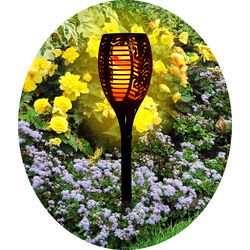 Shawhshank LEDz Black Ceramic 12-36 in. Round Garden Torch 1 pk