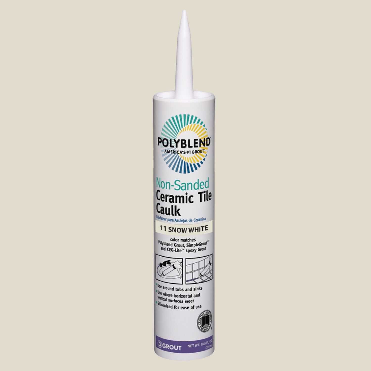 Custom Building Products  Polyblend  Snow White  Siliconized Acrylic  Caulk  10.5 oz.