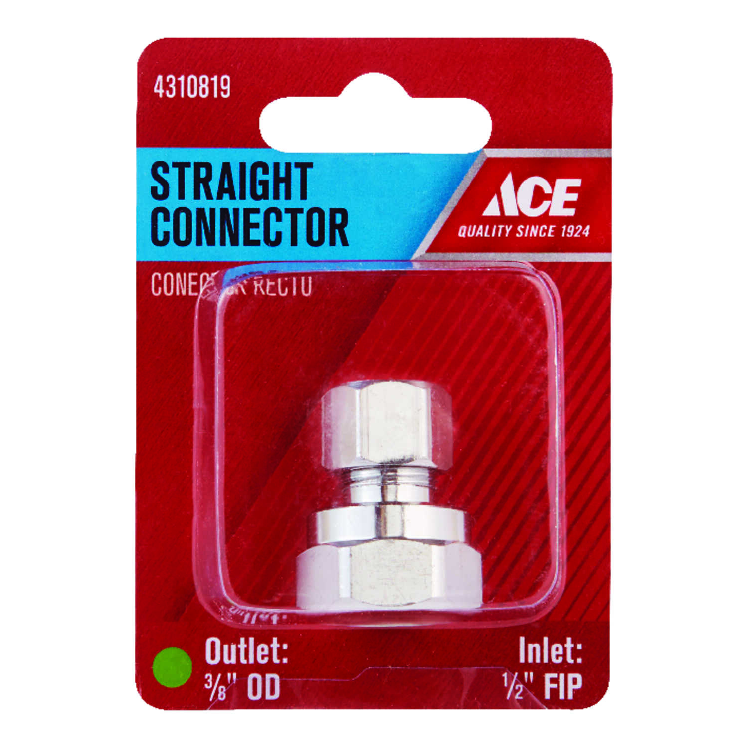 Ace  1/2 in. FPT   x 3/8 in. Dia. Compression  Brass  Straight Connector