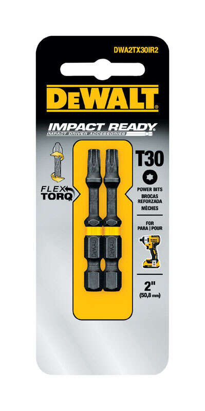 DeWalt  Impact Ready  Torx  T30 in.  x 2 in. L Screwdriver Bit  1/4 in. 2 pc.