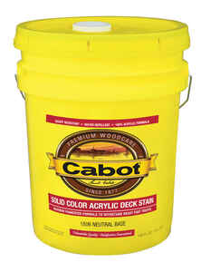 Cabot  Solid  Tintable Neutral Base  Acrylic  Deck Stain  5 gal.