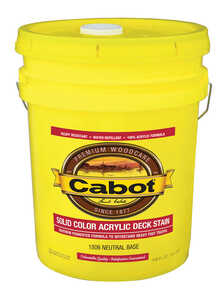Cabot  Solid Acrylic Decking Stain  Solid  Tintable Neutral Base  Acrylic  Deck Stain  5 gal.