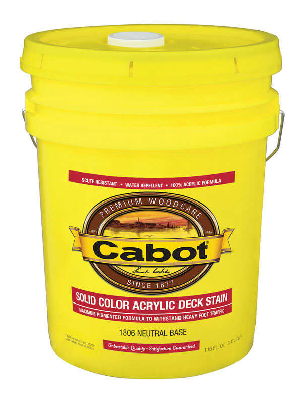 Cabot  Solid  Tintable Neutral Base  Neutral Base  Acrylic  Deck Stain  5 gal.
