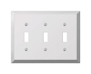 Amerelle  Century  Polished Chrome  3 gang Stamped Steel  Toggle  Wall Plate  1 pk