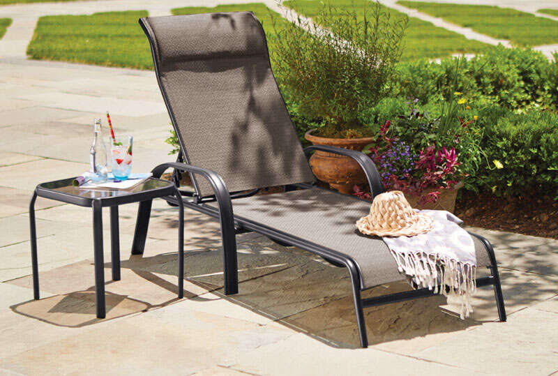 Living Accents  Black  Steel with Sling Fabric  Chaise Lounge  Newport