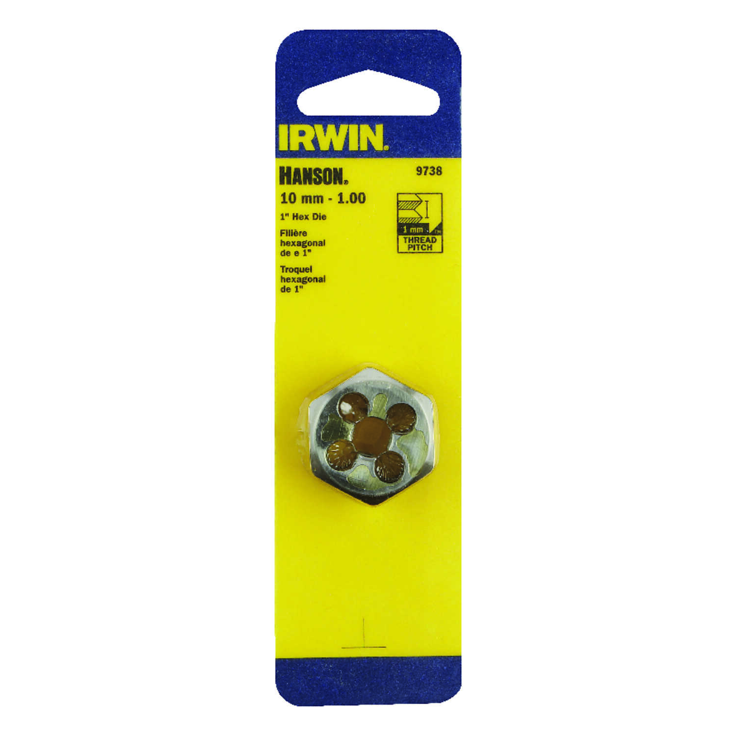 Irwin  Hanson  High Carbon Steel  Metric  Hexagon Die  10mm-1.00  1 pc.