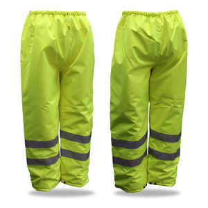 Boss  Hi-Vis Insulated  Yellow  Polyester  Rain Pants  XL