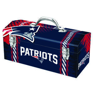 Sainty International  New England Patriots  16.25 in. Steel  Art Deco Tool Box  7.1 in. W x 7.75 in.