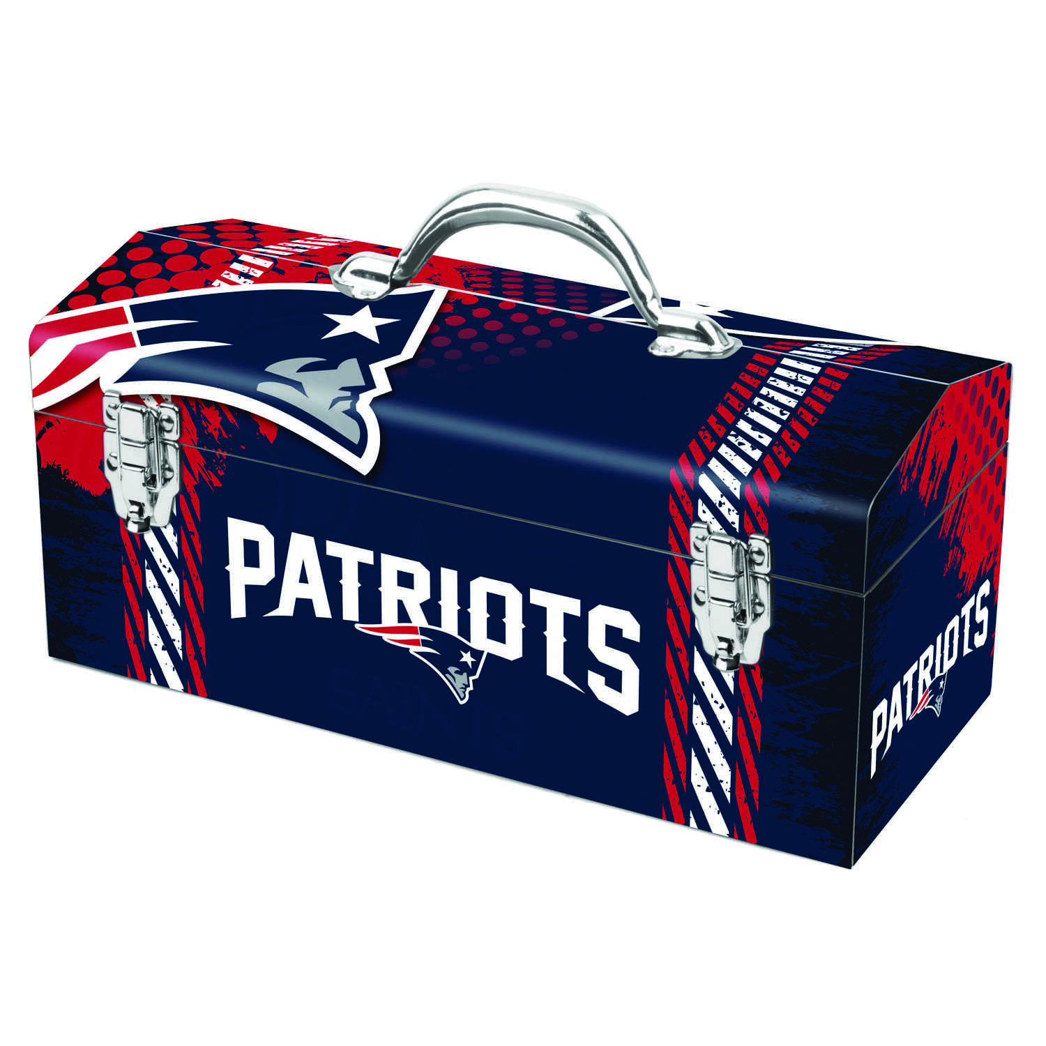 Sainty International  16.25 in. New England Patriots  Art Deco Tool Box  7.75 in. H x 7.1 in. W Stee