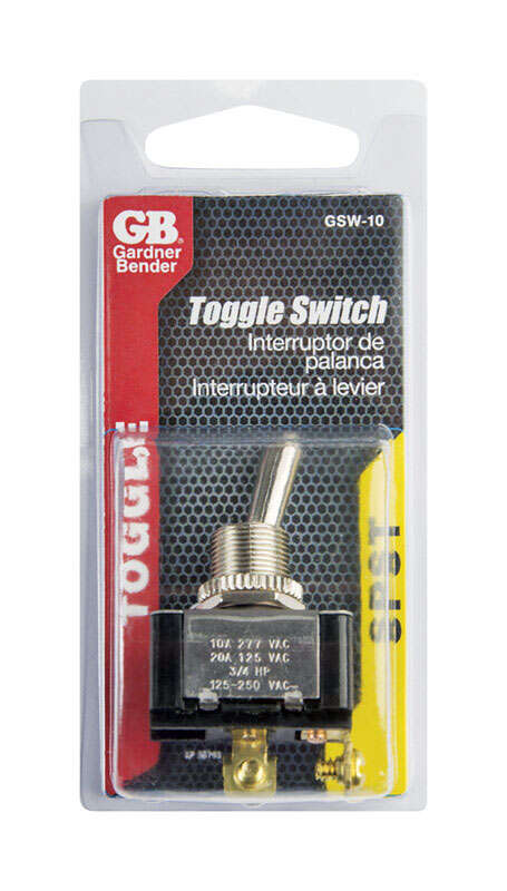 Gardner Bender  20 amps Single Pole  Toggle  Switch  1 pk Black/Silver