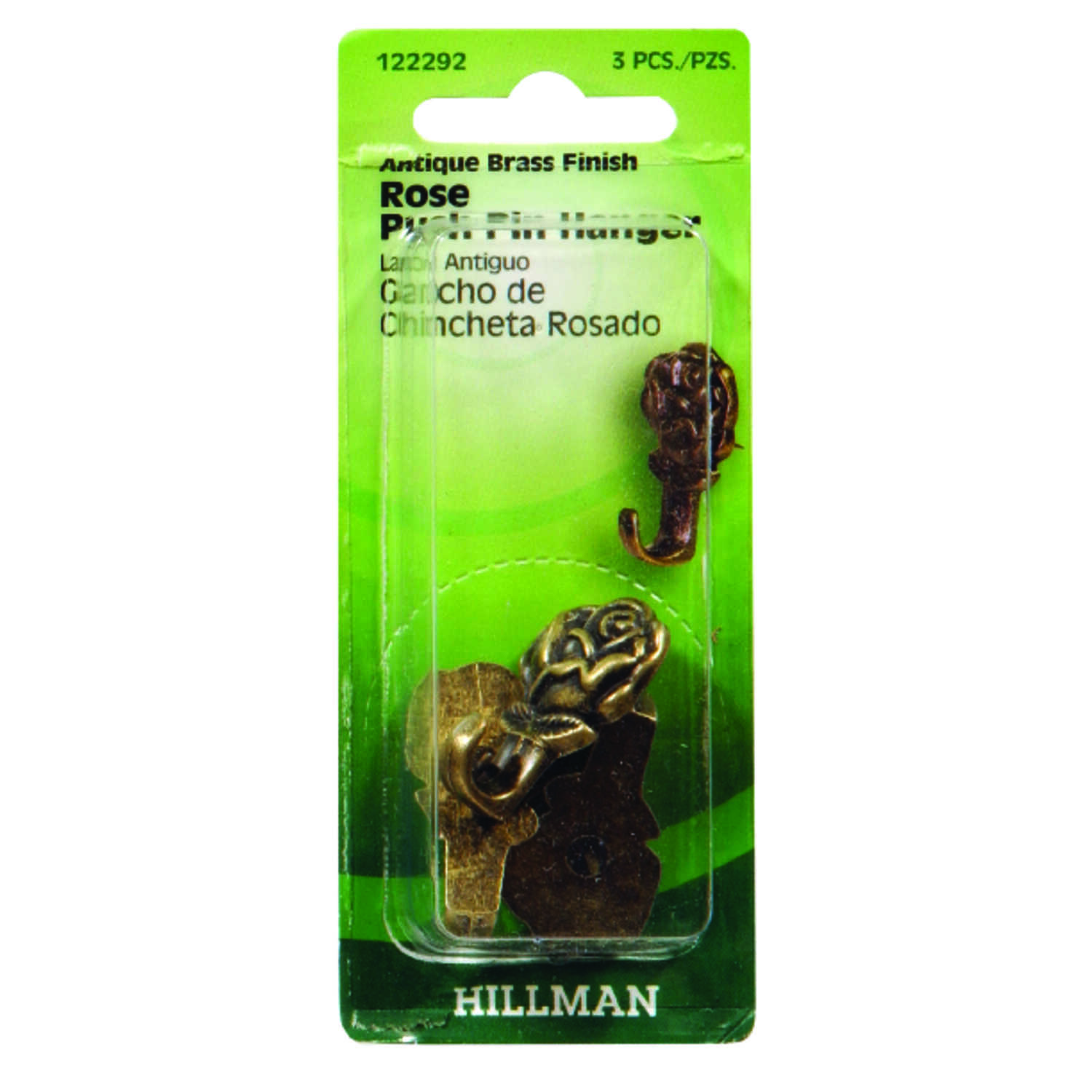 HILLMAN  AnchorWire  Gilt  Gold  Push Pin  Picture Hook  20 lb. Steel  3 pk