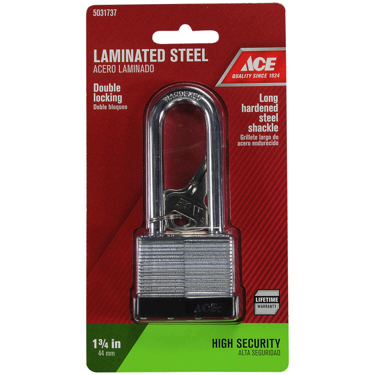 Ace  1-3/8 in. H x 1-3/4 in. W x 1-1/16 in. L Steel  Double Locking  Padlock  1 pk