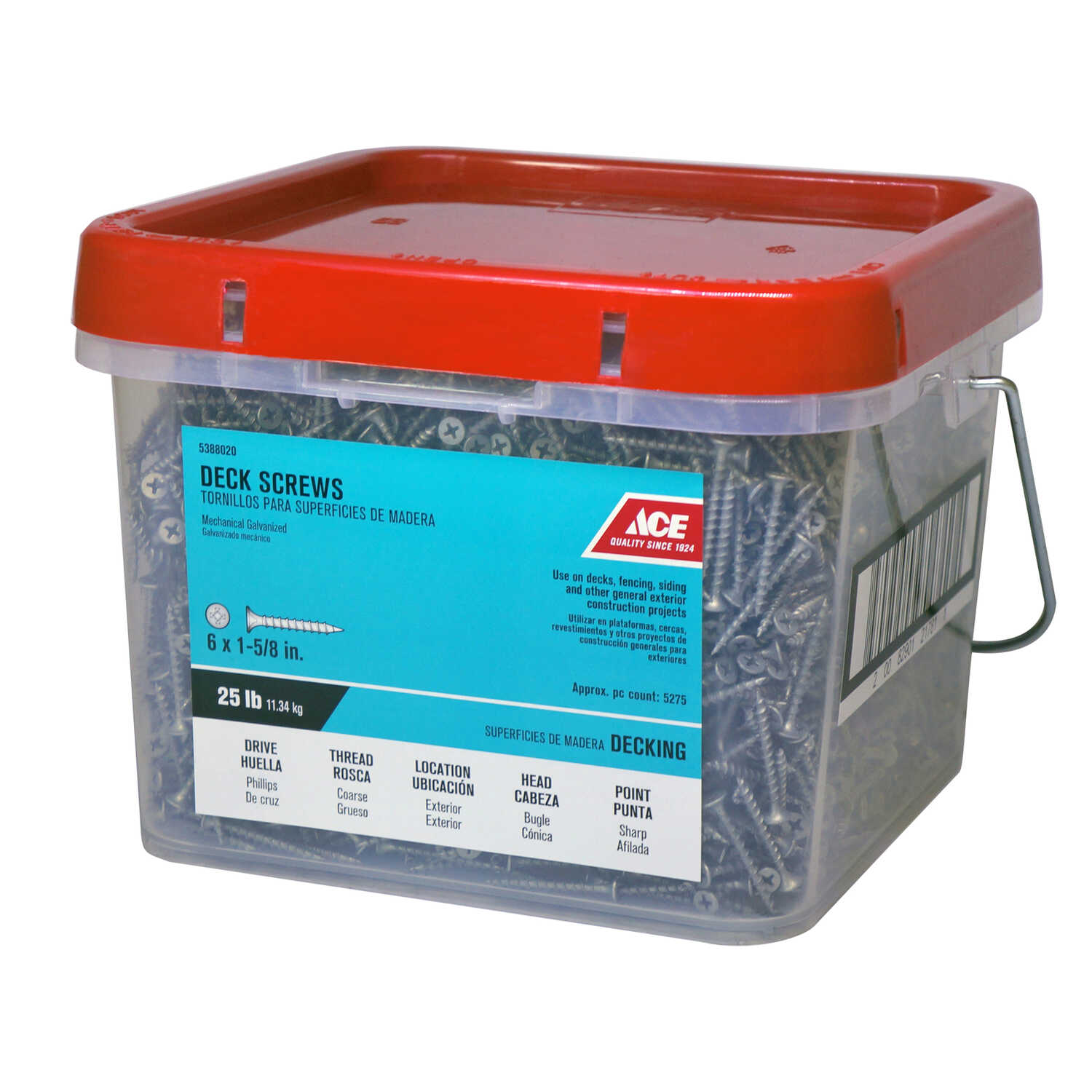 Ace  No. 6   x 1-5/8 in. L Phillips  Bugle Head Galvanized  Steel  Deck Screws  25 lb. 5700 pk