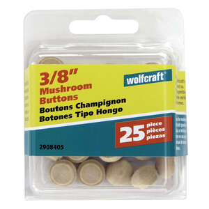 Wolfcraft  Round  Birch  Mushroom Plug  3/8 in. Dia. x 0.3 in. L 25 pk Natural