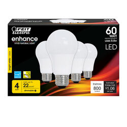 Feit Electric  A19  E26 (Medium)  LED Bulb  Bright White  60 Watt Equivalence 4 pk