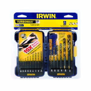 Irwin  Turbomax  Multi Size  Dia. x Multiple  L High Speed Steel  Drill Bit Set  Straight Shank  15