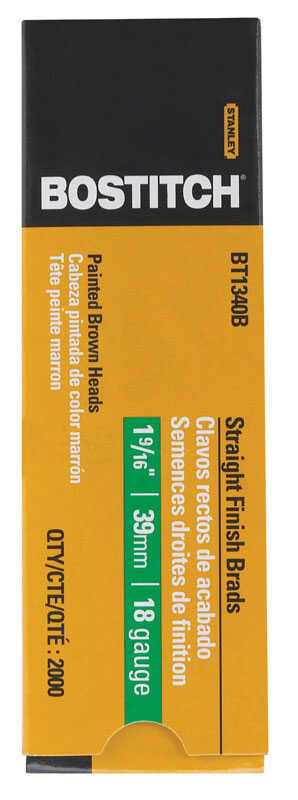Stanley Bostitch  18 Ga. Smooth Shank  Straight Strip  Brad Nails  1-7/8 in. L x 0.1 in. Dia. 2,000