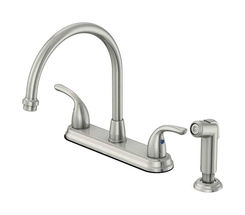 OakBrook  Pacifica  High Arc  Two Handle  Brushed Nickel  Kitchen Faucet  Side Sprayer Included