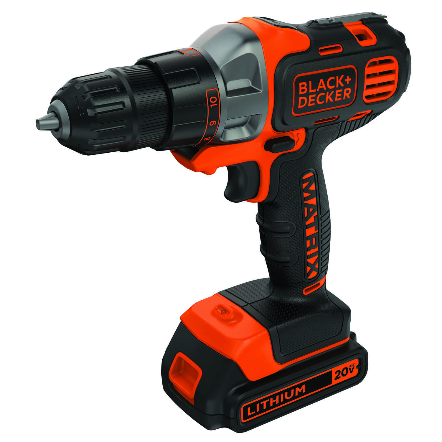 Black and Decker  MATRIX  20 volt 3/8 in. Cordless Compact Drill/Driver  Kit 800 rpm 1
