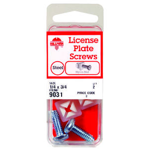 Hillman  No. 14   x 3/4 in. L Slotted  Square Head Zinc-Plated  Steel  License Plate Screws  2 pk