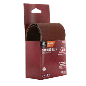 Ace  21 in. L x 3 in. W Aluminum Oxide  Sanding Belt  80 Grit Medium  2 pc.