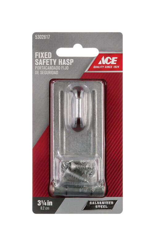 Ace  Galvanized  Steel  3-1/4 in. L Fixed Staple Safety Hasp