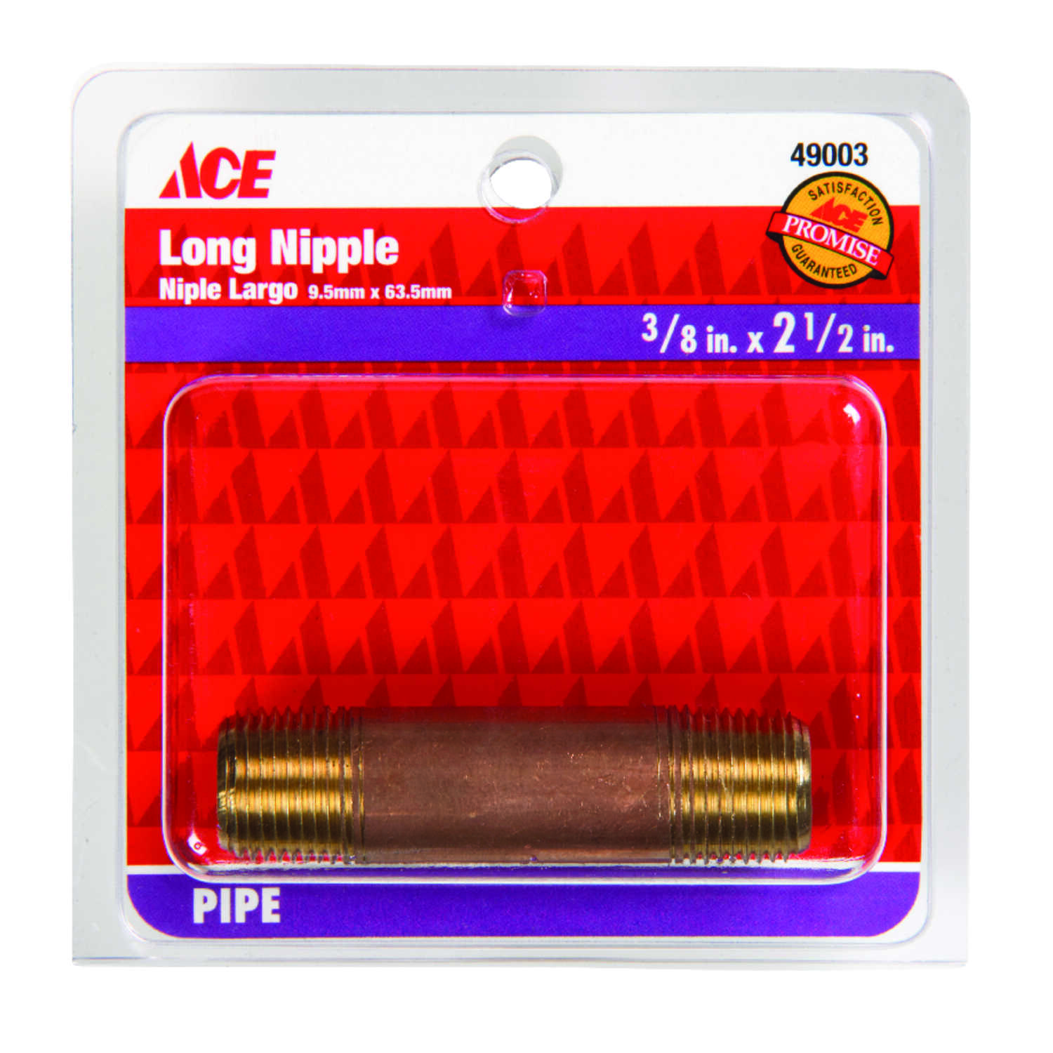 Ace  3/8 in. MPT   x 3/8 in. Dia. MPT  Threaded  Red Brass  Pipe Nipple