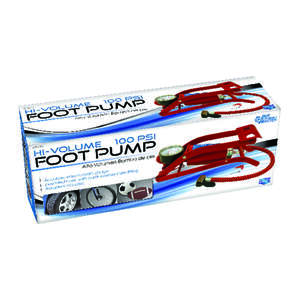 Custom Accessories Foot Pump Heavy Duty 100 psi 10 in., 2in. x 4-1/8 in. Plastic Polybag