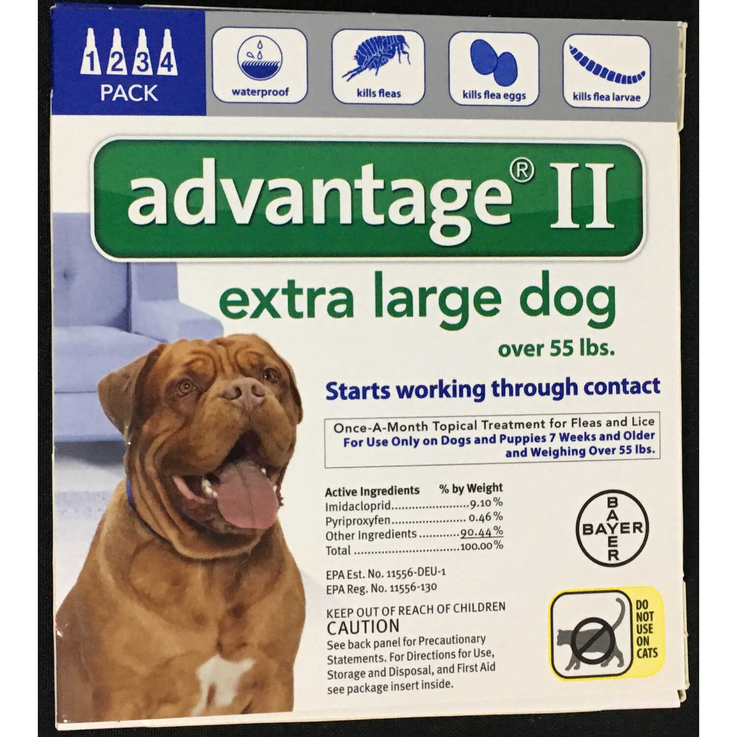 Bayer  Advantage II  Liquid  Dog  Flea Drops  0.54 oz.