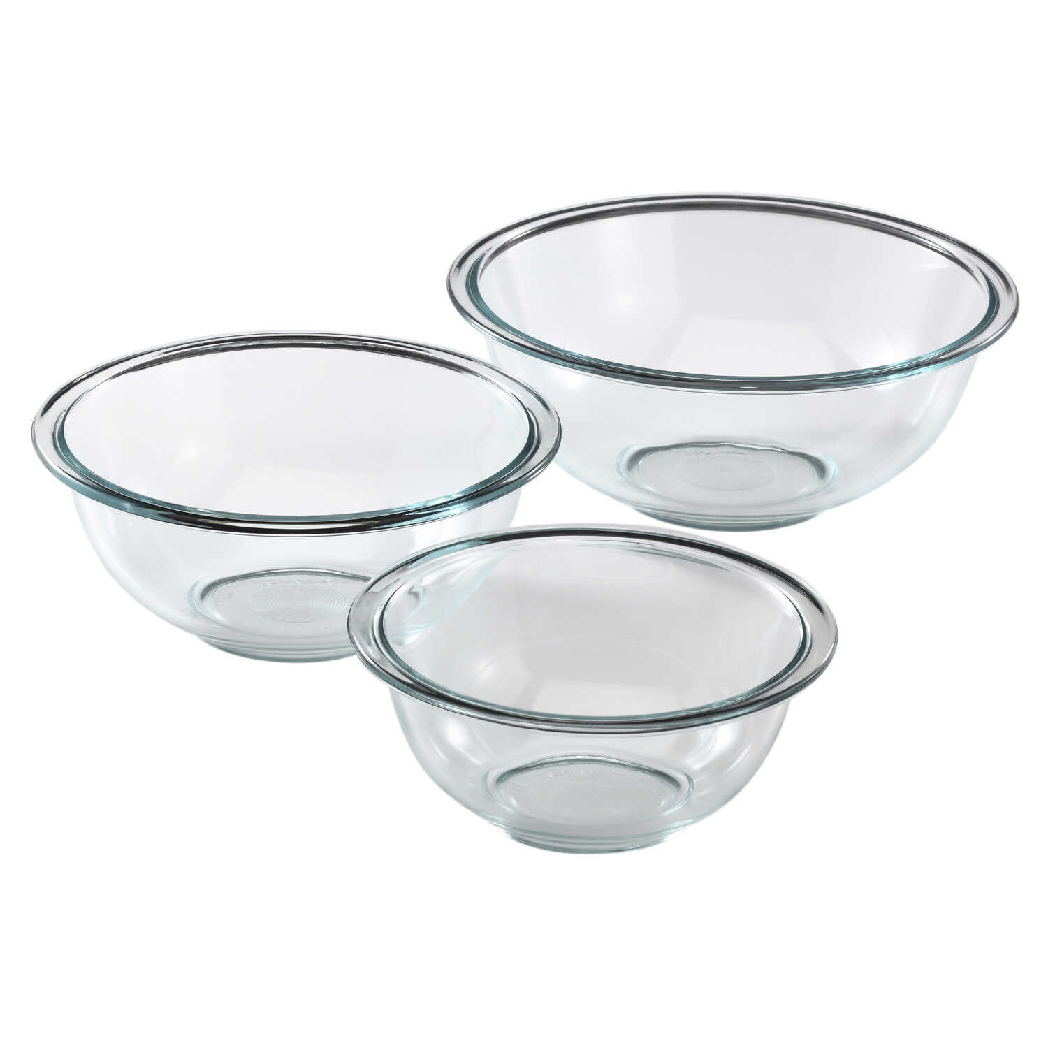 Pyrex  Smart Essentials  1, 1.5, 2.5  Glass  Clear  Mixing Bowl Set  3 pc.
