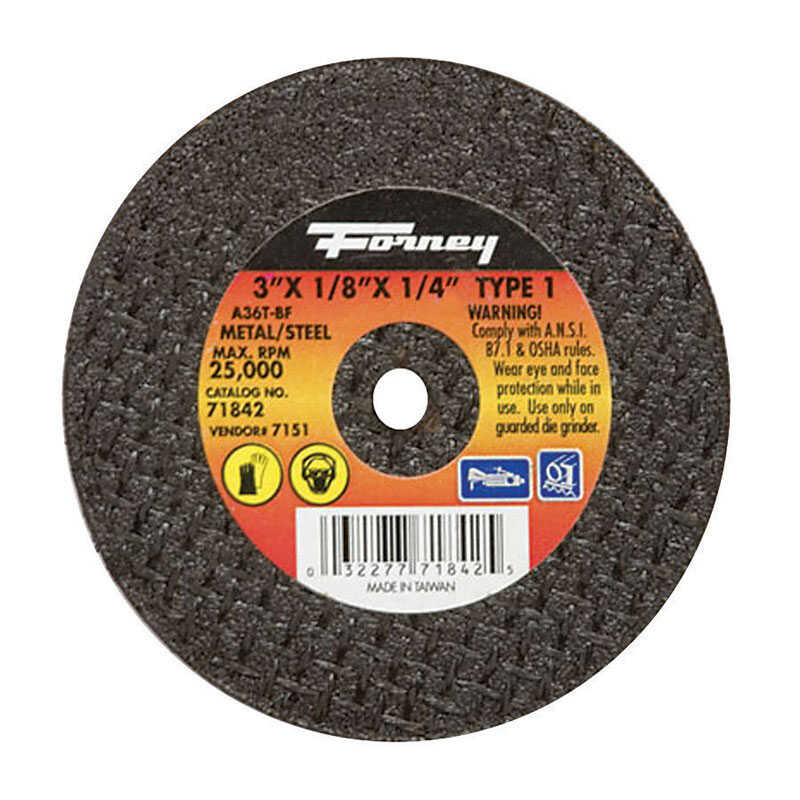 Forney  3 in. Aluminum Oxide  Metal Cut-Off Wheel  1/8 in.  x 1/4 in.  1 pc.