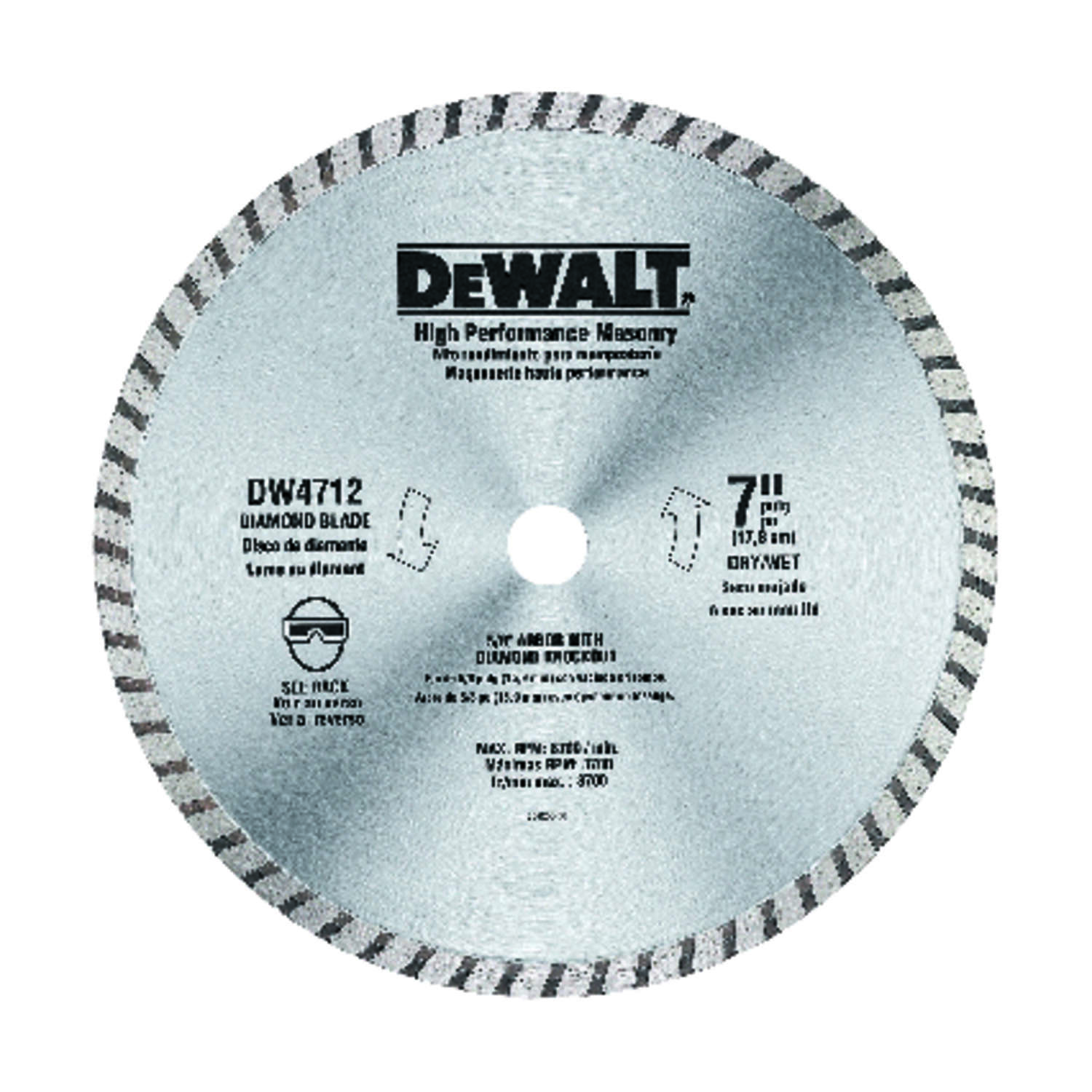 DeWalt  7 in. Dia. x 5/8 in.  Diamond  Wet/Dry Continuous Turbo Rim Saw Blade  1 pk