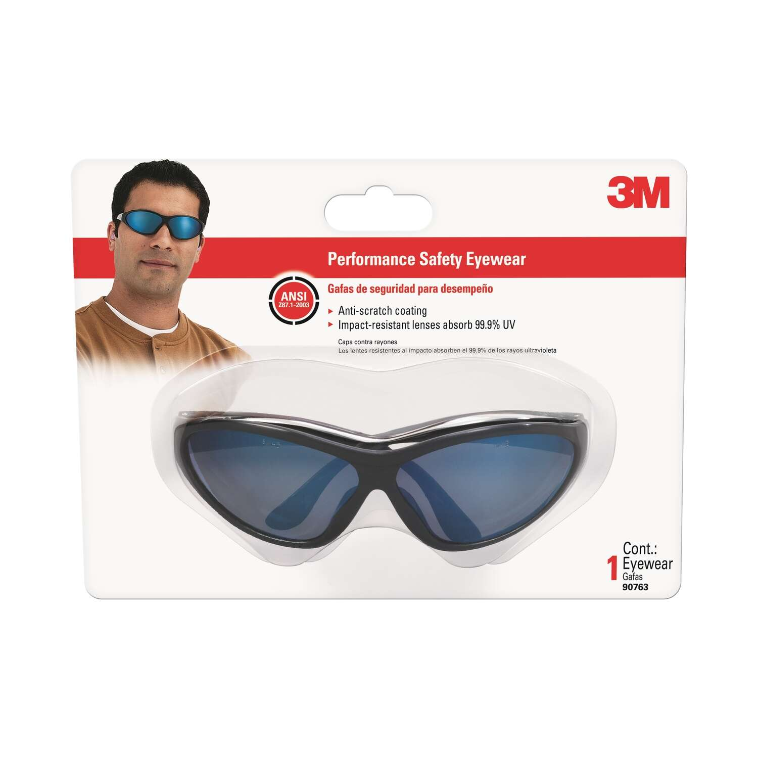 3M  Safety Glasses  Blue  1  Black
