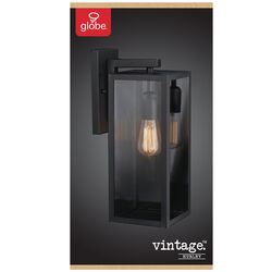 Globe Electric  Vintage  1-Light  Matte  Black  Hurley  Wall Sconce
