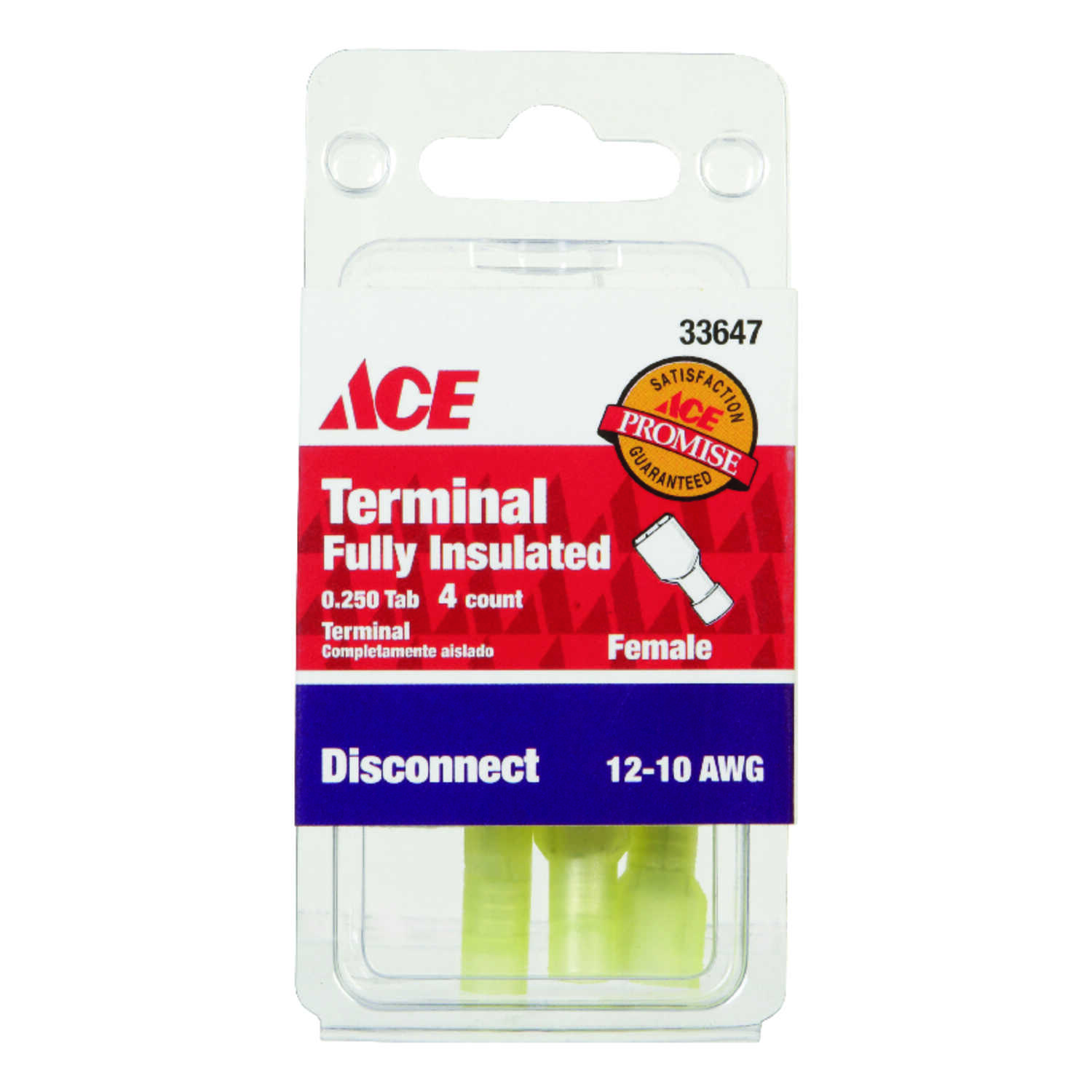 Ace  Insulated Wire  Female Disconnect  4 pk