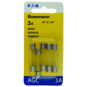 Bussmann  3 amps AGC  Mini Automotive Fuse  5 pk