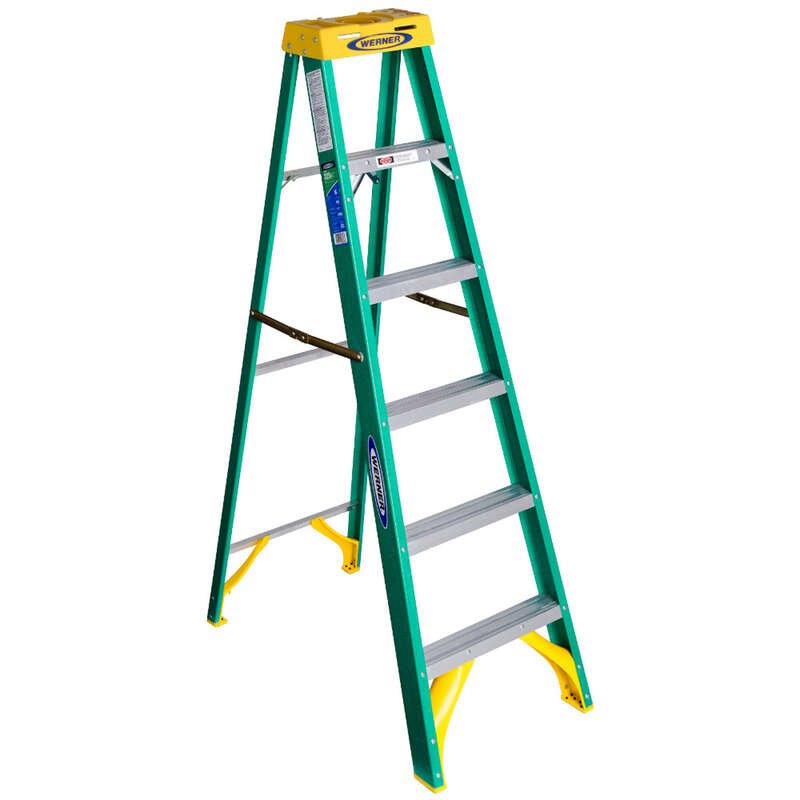 Werner 6 ft. H x 22 in. W Fiberglass Step Ladder Type II 225 lb. capacity