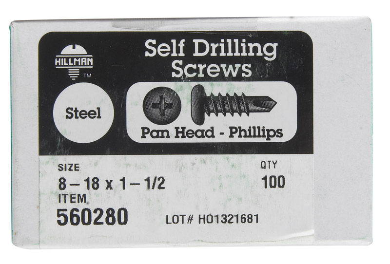 HILLMAN  8-18   x 1-1/2 in. L Phillips  Pan Head Zinc-Plated  Steel  Self- Drilling Screws  100 per